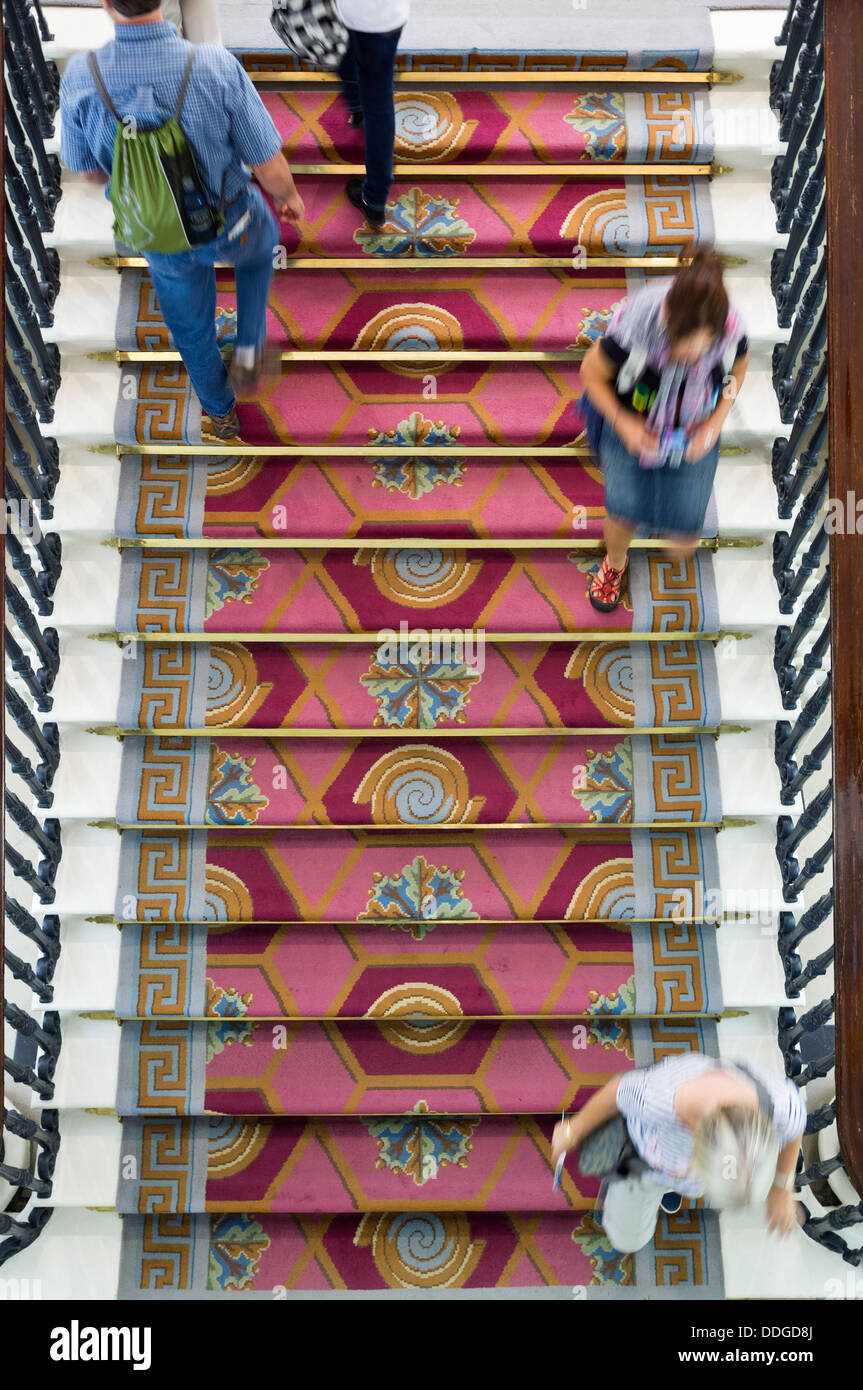 Stairway to battleaxe landing in Dublin castle, state apartments, Ireland - Stock Image