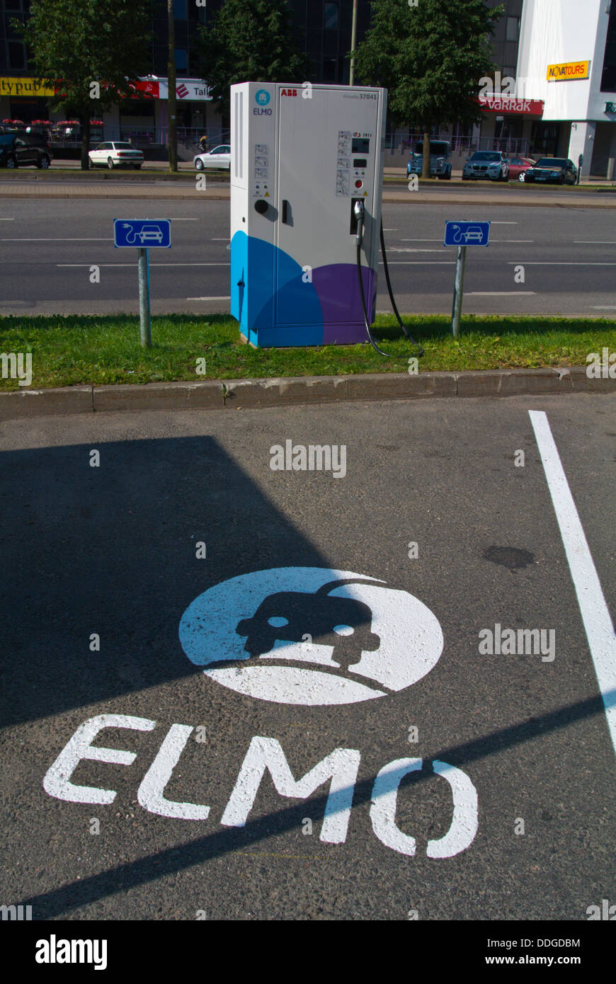 Elmo electric car charge station point Tallinn city business district Tallinn Estonia the Baltics Europe Stock Photo