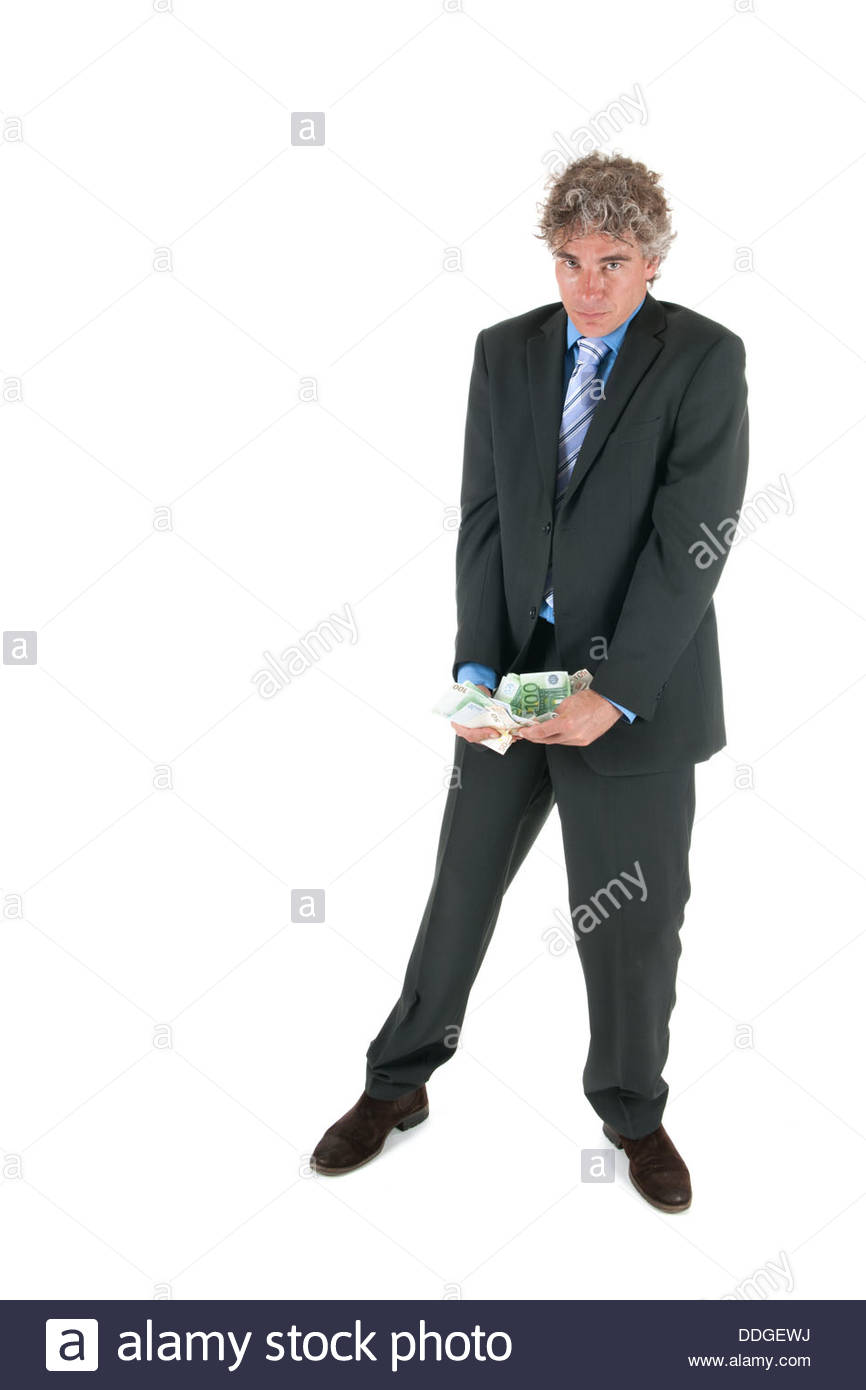 Business man with stolen money - Stock Image