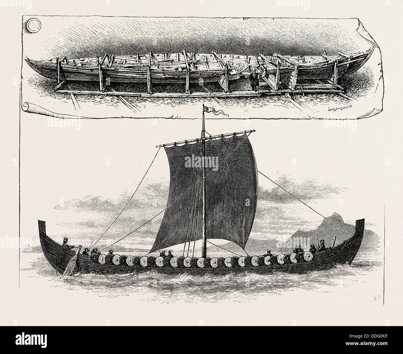 THE VIKING'S SHIP: THE VESSEL WHEN BROUGHT TO CHRISTIANIA; THE VESSEL AS SHE MUST HAVE LOOKED SAILING BEFORE - Stock Image