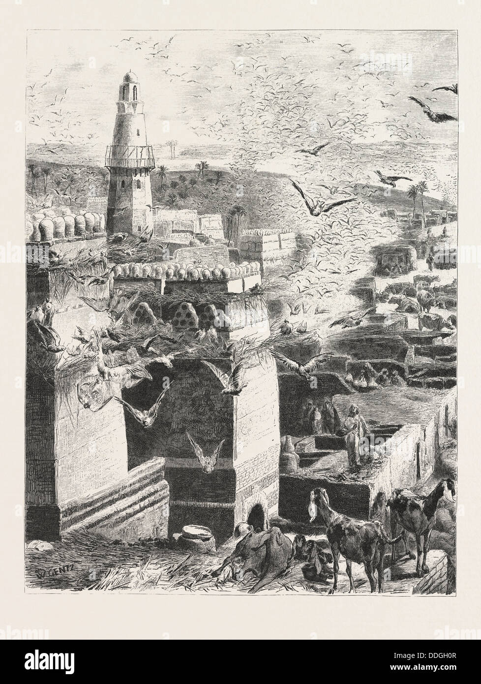 VILLAGE IN UPPER EGYPT. Egypt, engraving 1879 - Stock Image