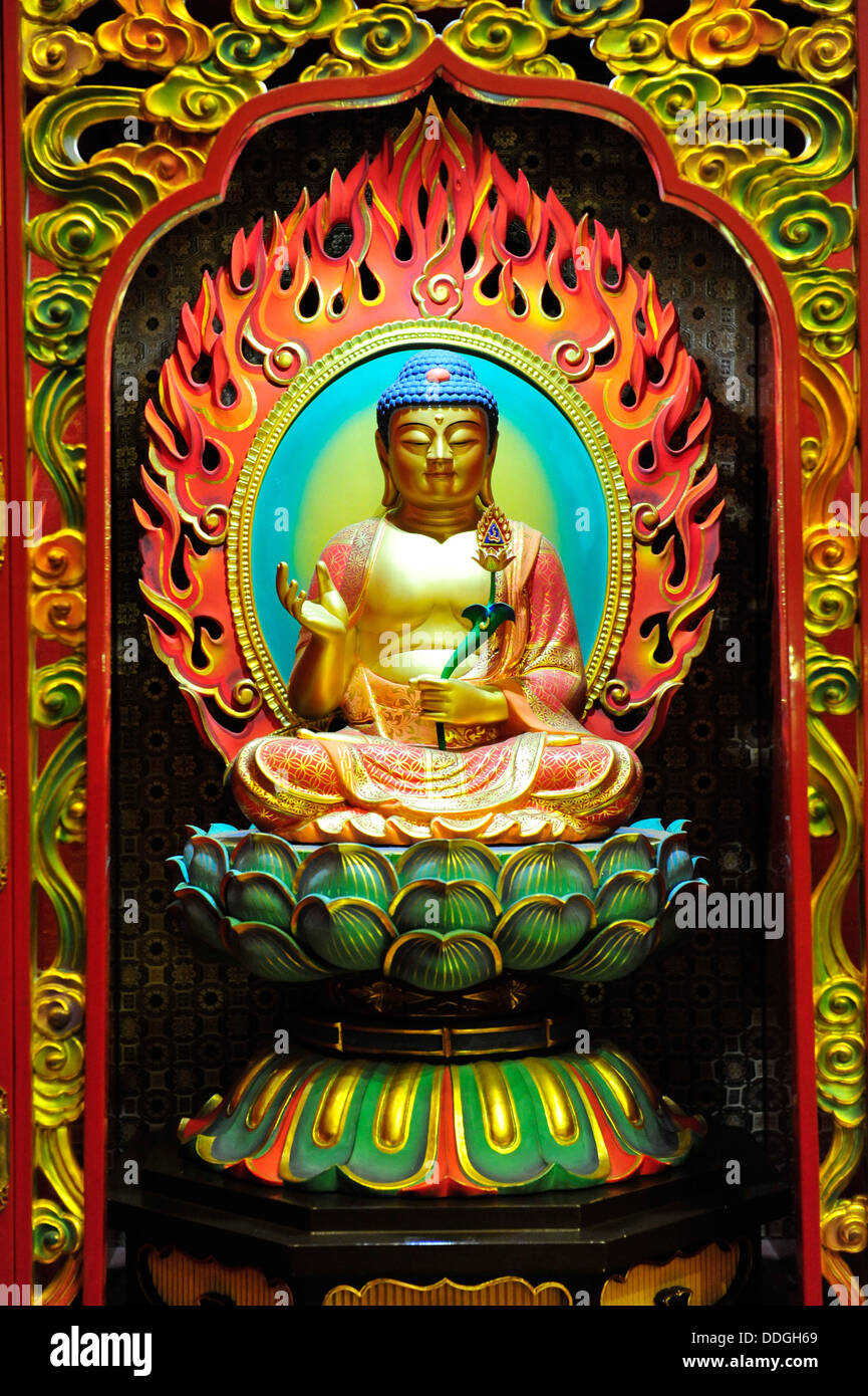 Image of Lord Buddha at the Buddha Tooth Relic Temple and Museum (Singapore) - Stock Image