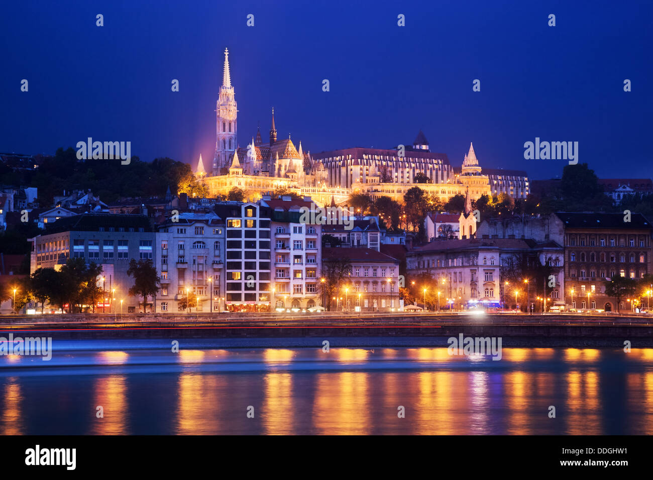Budapest, Hungary - Fisherman's Bastion and Matthias Church on the Buda Castle hill by Danube River Stock Photo