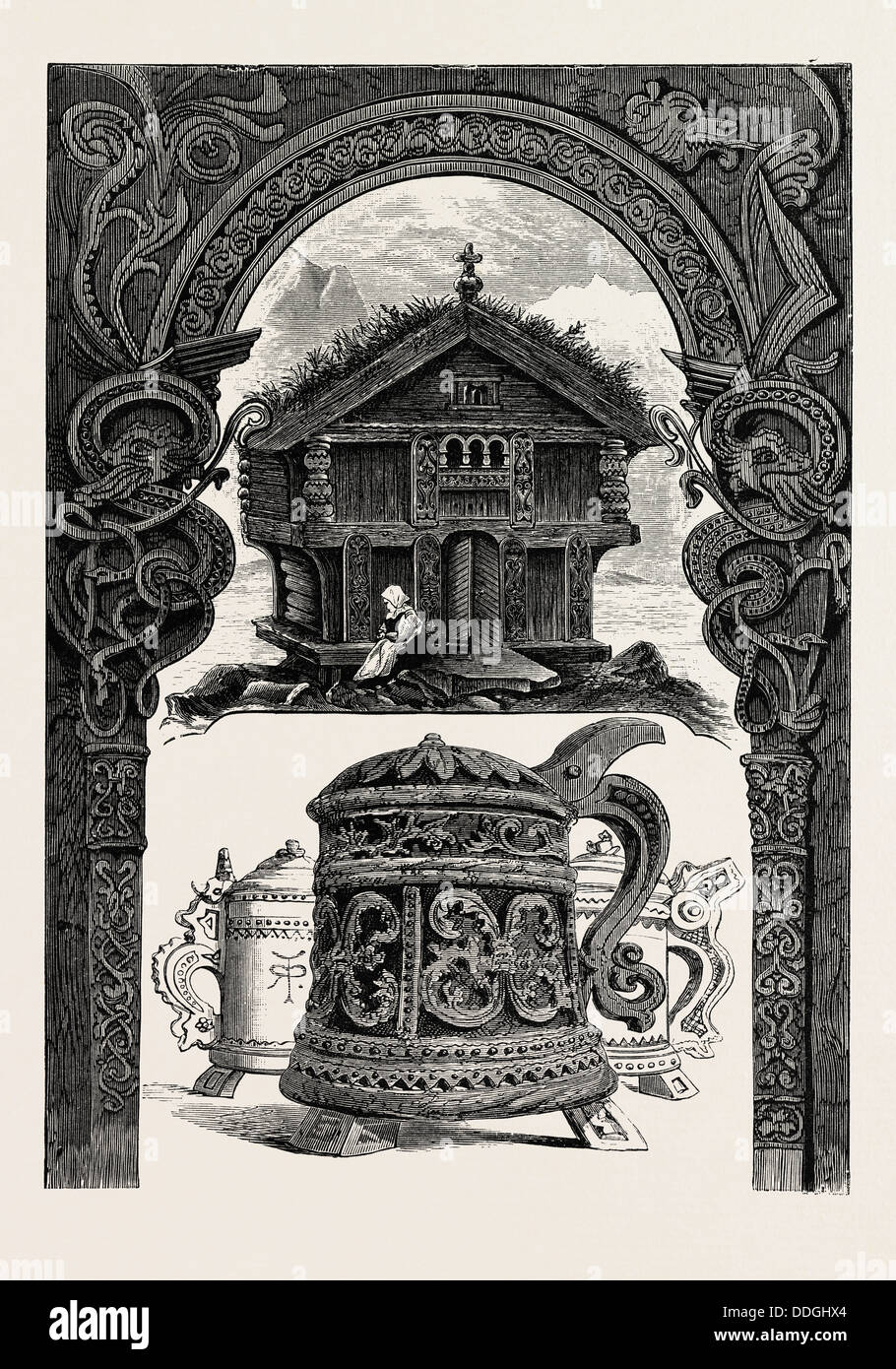 CARVED LINTEL, STABBUR AND TANKARDS - Stock Image