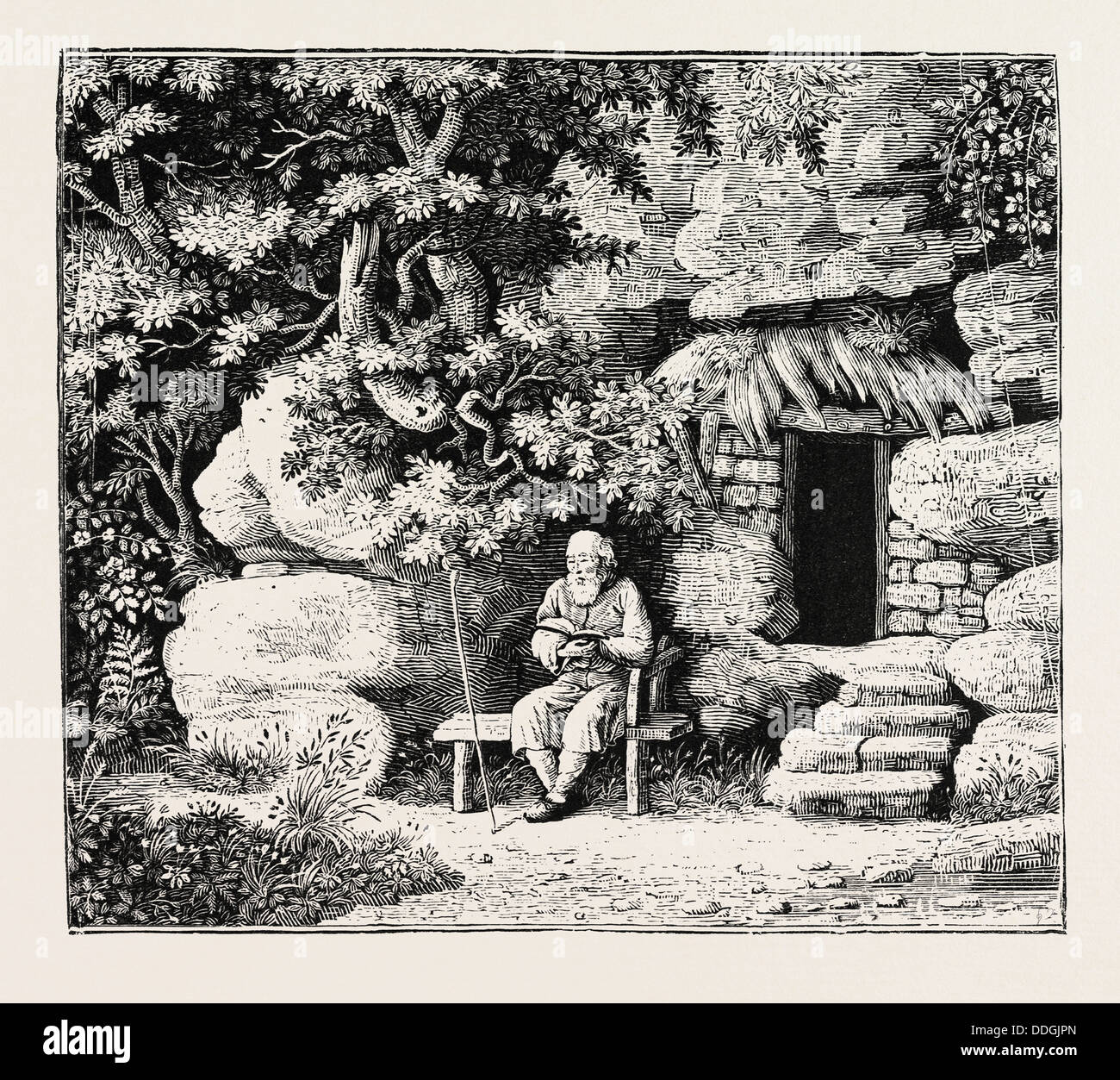 The Hermit at his Morning Devotions. From Goldsmith and Parnell's Poems - Stock Image