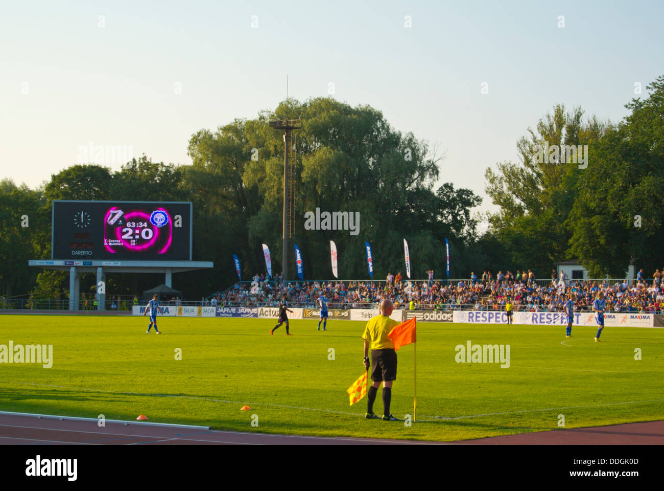 Kadriorg stadium during European league qualification match with local team Nommi Kalju vs HJK Helsinki Tallinn - Stock Image