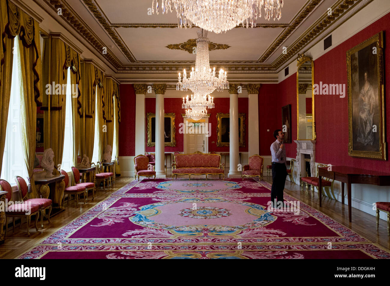 Drawing room in the state apartments, dublin castle, ireland - Stock Image