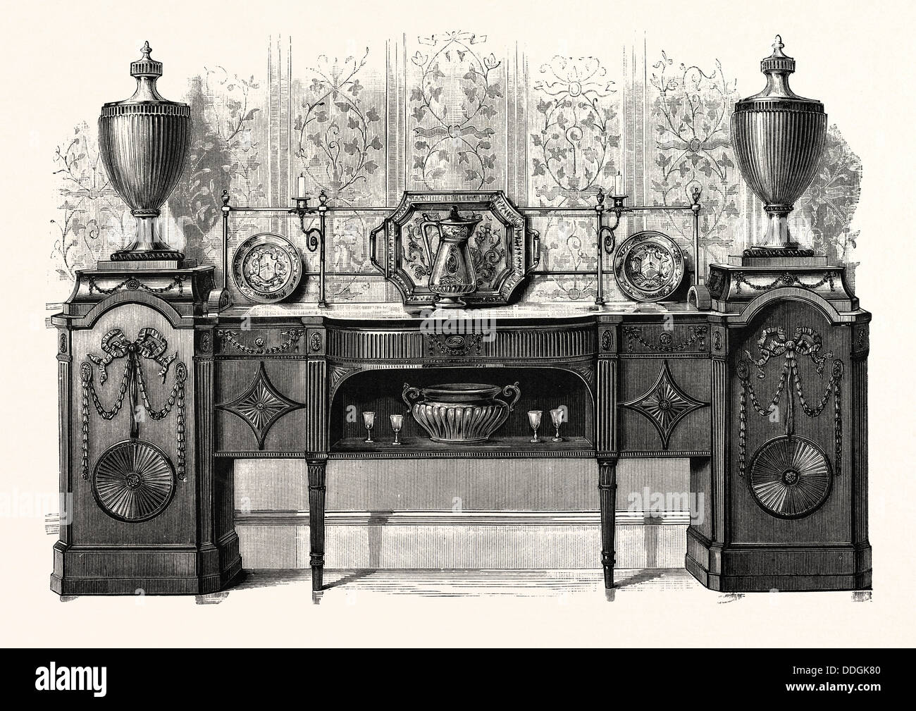 Sideboard by Sheraton, in the possession of W.T. Walters, Esq., Baltimore, U.S.A. - Stock Image