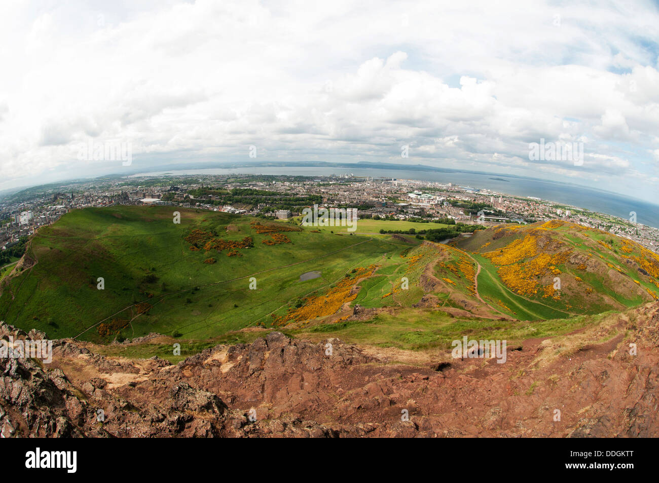 Arthur's Seat is the main peak of the group of hills which form most of Holyrood Park. It is situated in Edinburgh. - Stock Image