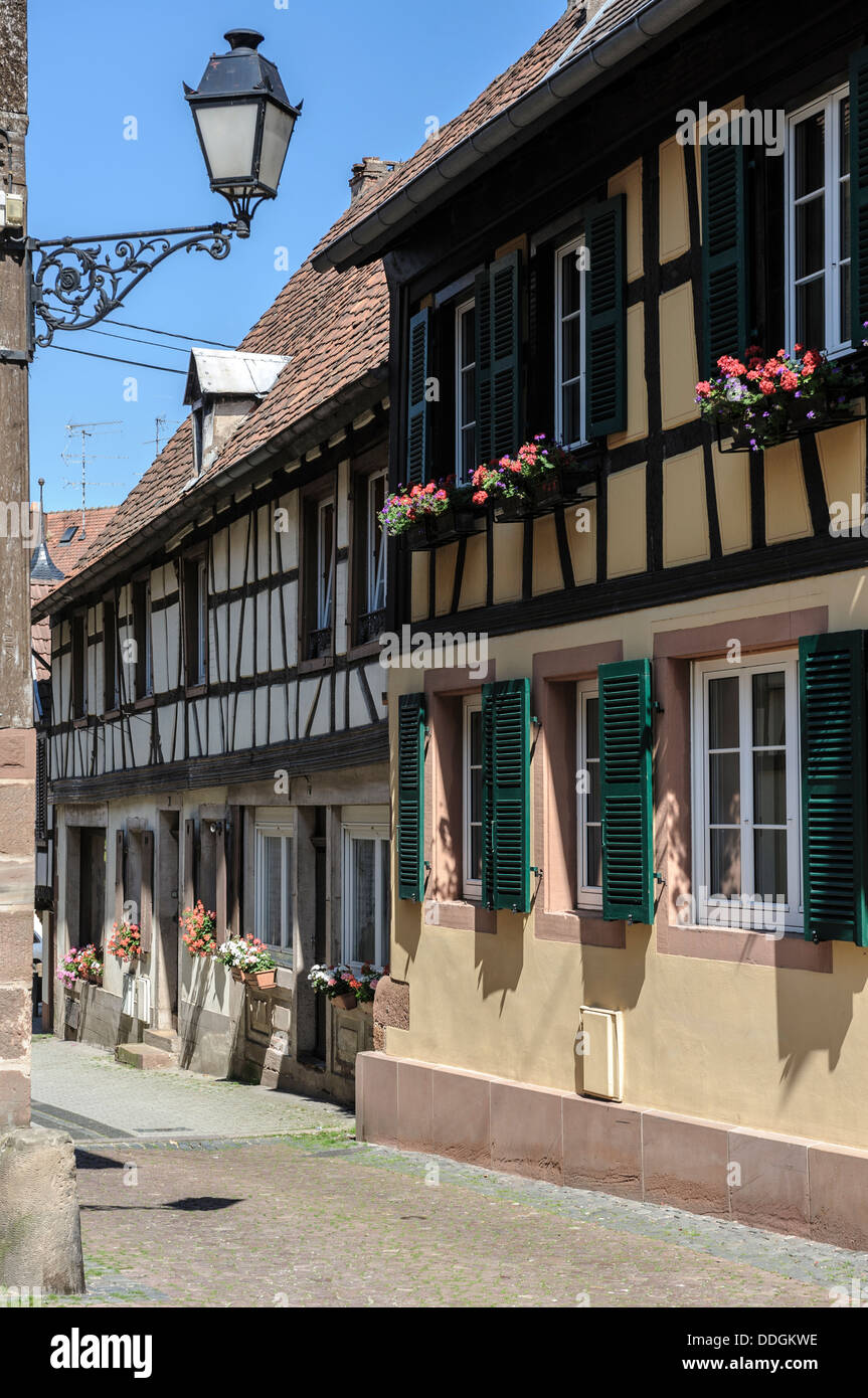 Centuries old half timbered houses in Bauxwiller, Alsace, France. - Stock Image