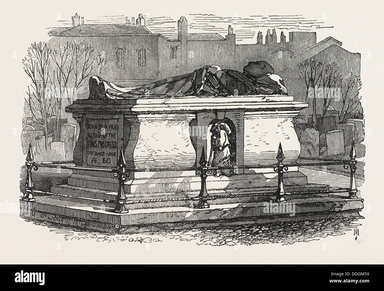 OLD TOMBS IN BUNHILL FIELDS CEMETERY: JOHN BUNYAN'S TOMB, 1869 - Stock Image