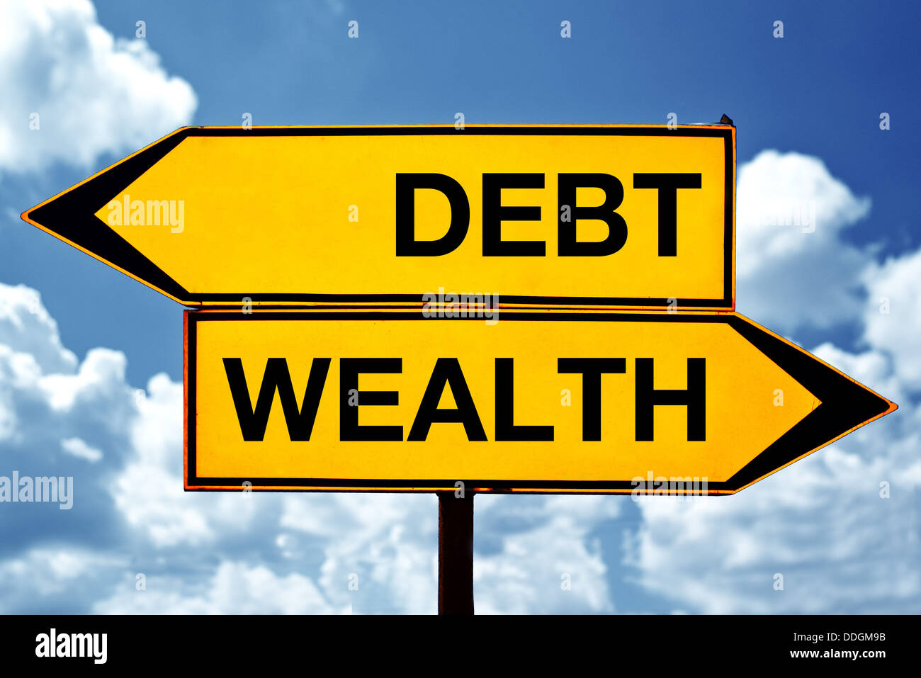Debt or wealth, opposite signs. Two opposite signs against blue sky background. - Stock Image