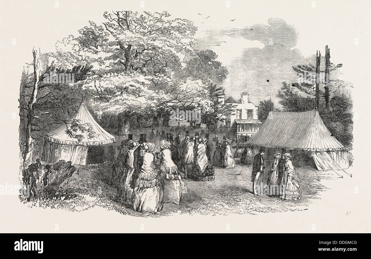 SALE OF FANCY-WORK IN THE GROUNDS OF HARLESDEN HOUSE, FOR THE BENEFIT OF THE UNITED SOCIETY FOR IRISH CHURCH MISSIONS, - Stock Image