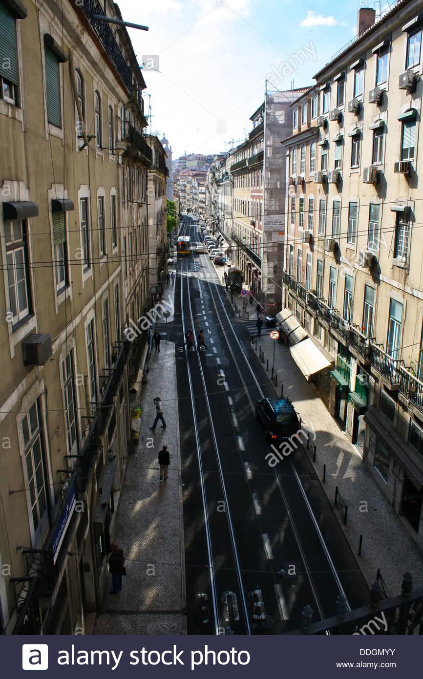 Sunny street of Lisbon,Portugal Stock Photo