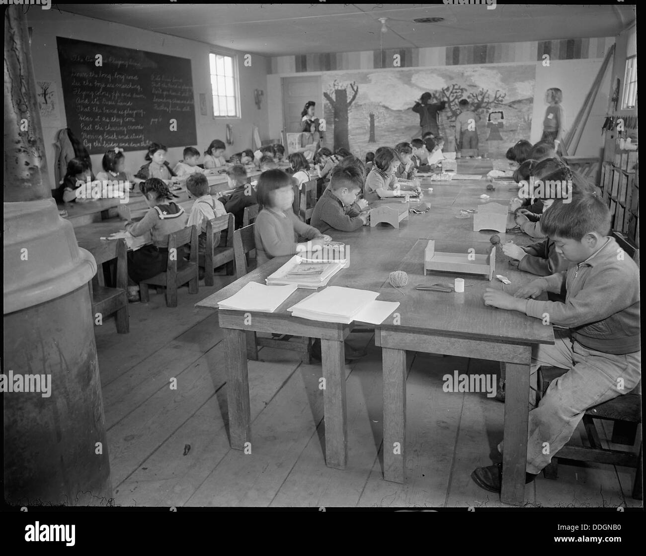 Tule Lake Relocation Center, Newell, California. Pupils in the Activities Class at the Rim Rock s . . . 536966 Stock Photo