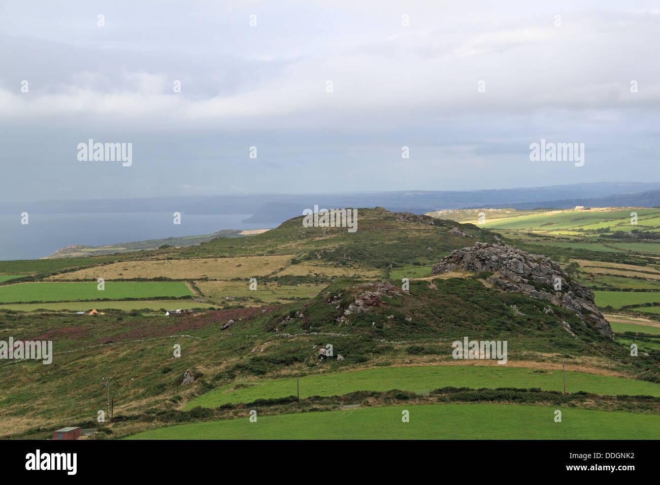 Garn Fechan Iron Age Hillfort from Garn Fawr, Pen Caer peninsula, Pembrokeshire, Wales, Great Britain, United Kingdom - Stock Image