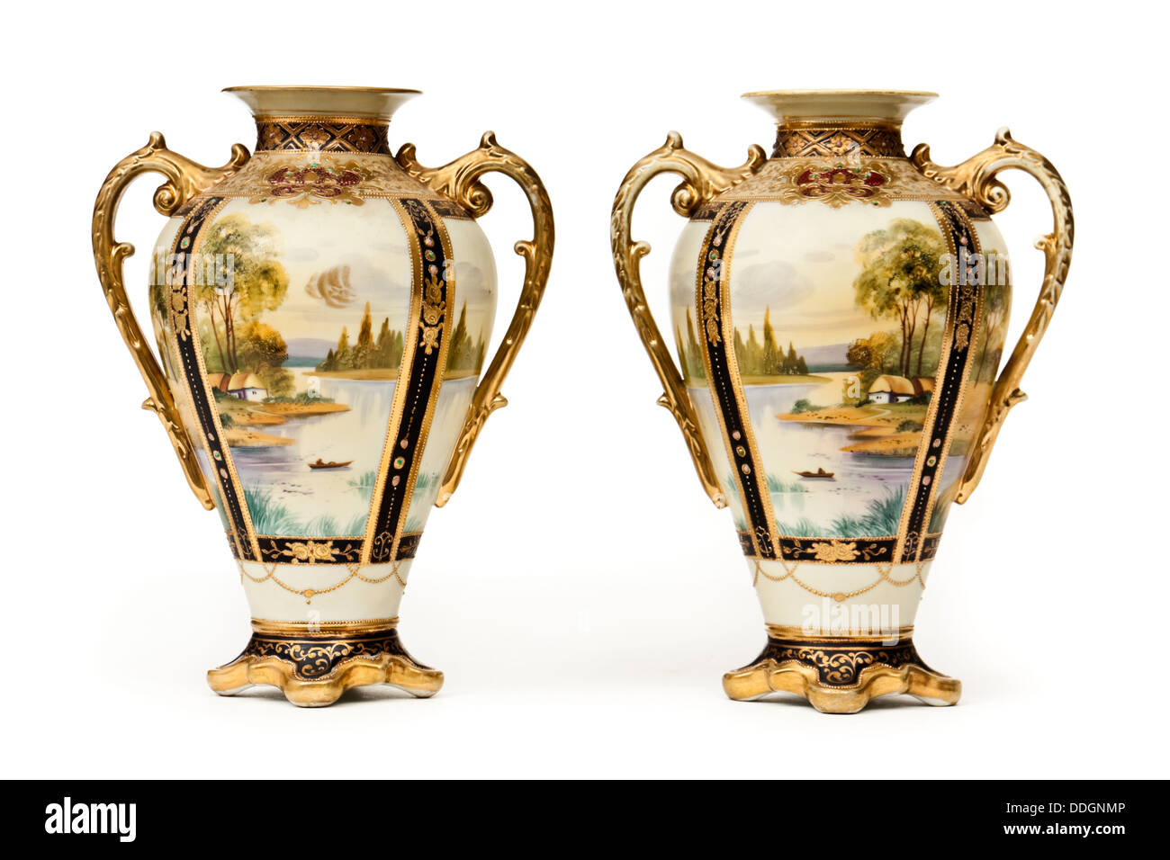 Pair of antique hand painted ornate vases by Noritake of Japan - Stock Image