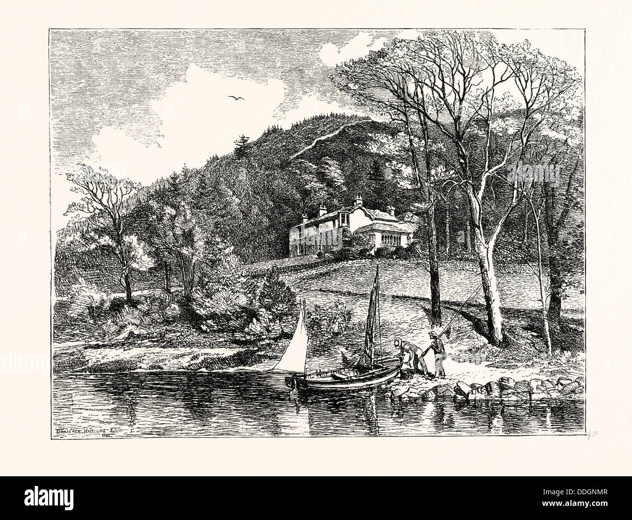 MR. RUSKIN'S HOUSE, BRANTWOOD. AFTER A DRAWING BY L.J. HILLIARD. John Ruskin (8 February 1819 20 January 1900) - Stock Image