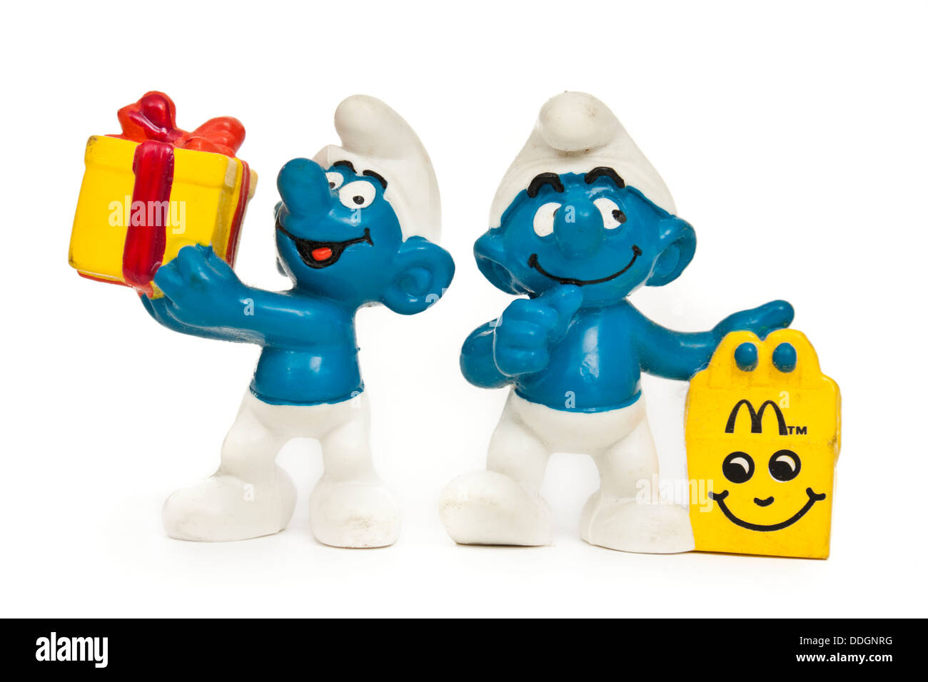 Pair of vintage 1996 McDonalds 'Smurf' promotional toys - Stock Image