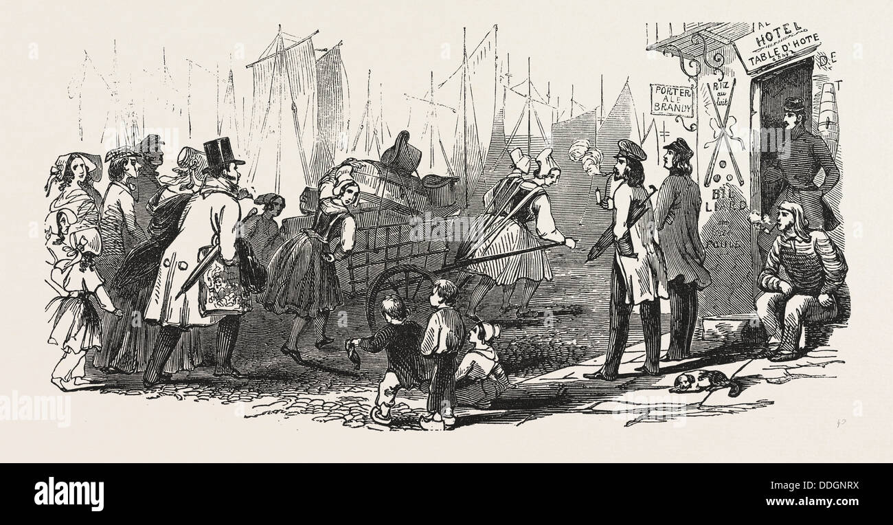 THE END OF THE SEASON, 1846, OFF TO PARIS: LUGGAGE PORTERS - Stock Image