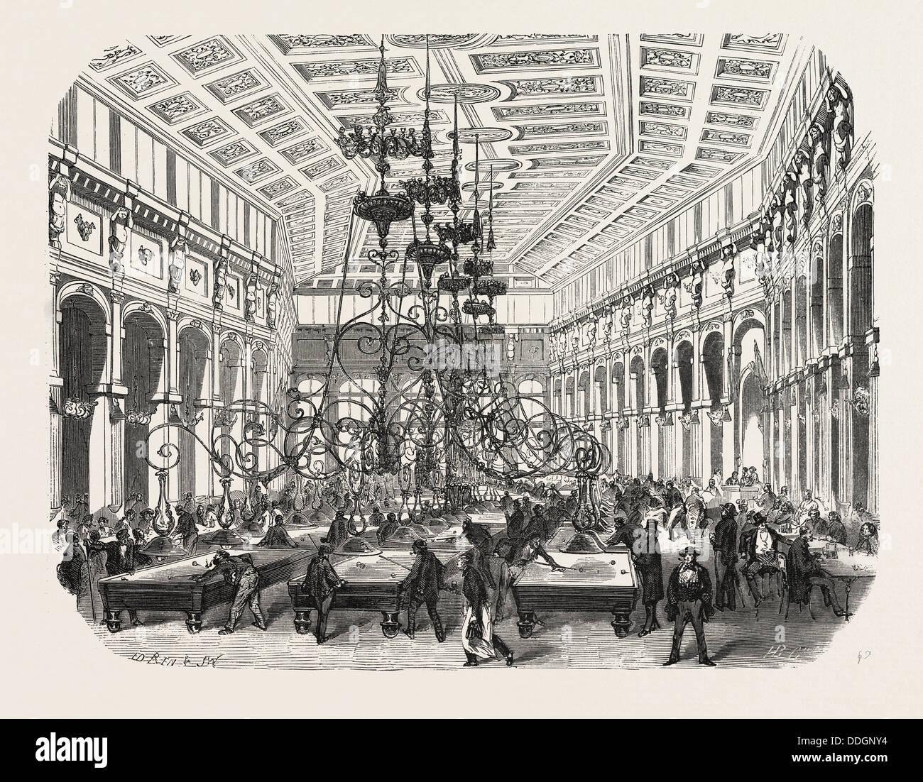 The Grand Cafe Parisien on the Boulevard Saint-Martin, Paris, France. engraving 1855 - Stock Image