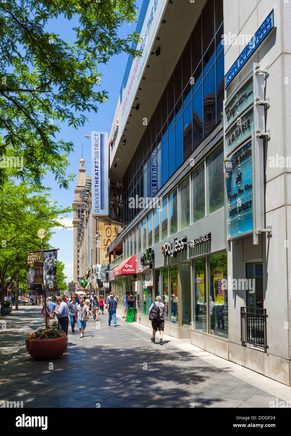 Shops on the pedestrianised 16th Street Mall at the beginning of the Theater District, downtown Denver, Colorado, - Stock Image