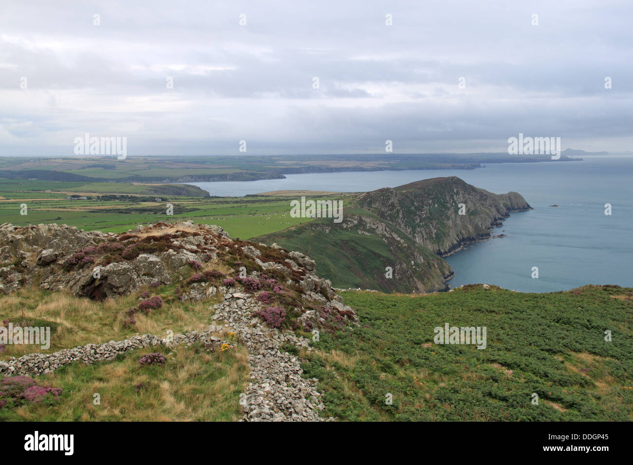 Towards St Davids from Garn Fawr Iron Age Hillfort, Pen Caer, Pembrokeshire, Wales, Great Britain, United Kingdom, - Stock Image