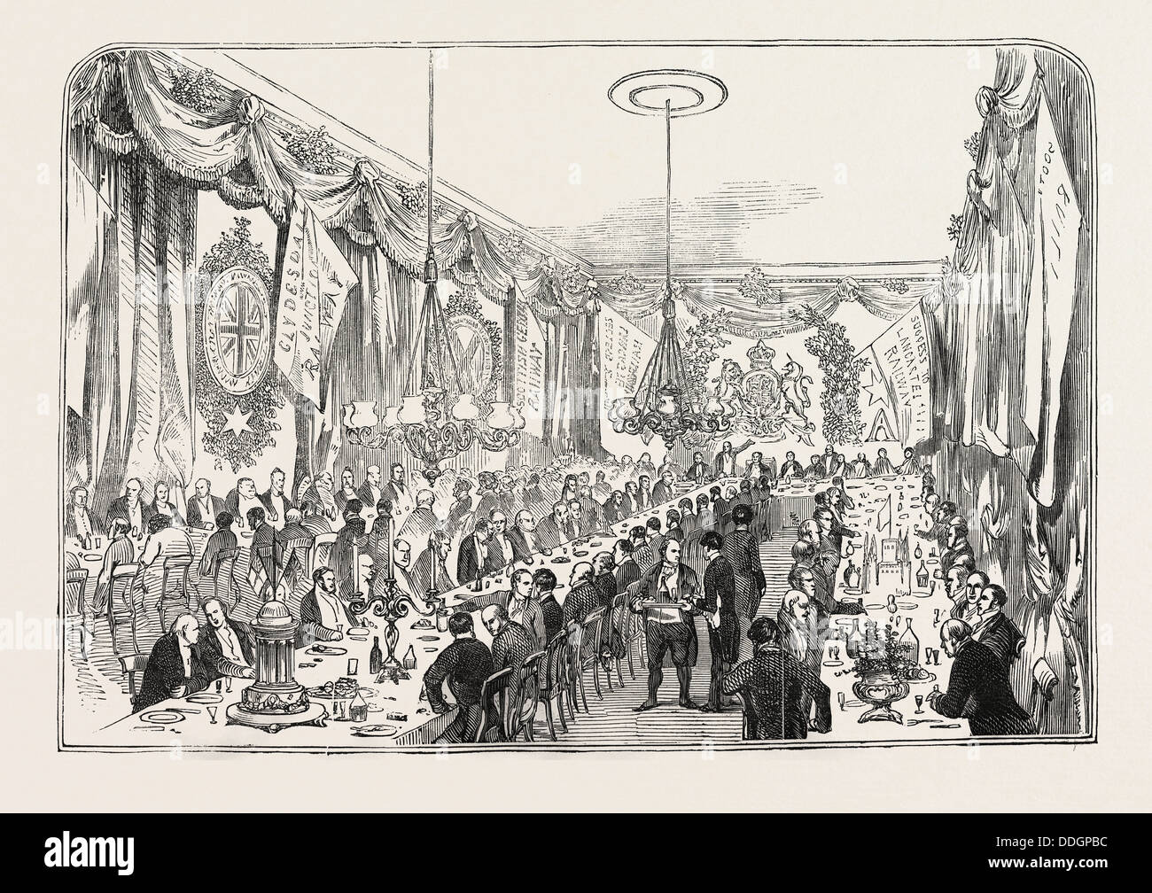 OPENING OF THE LANCASTER AND CARLISLE RAILWAY: THE RAILWAY CONTRACTORS' DINNER, AT THE CROWN AND MITRE INN, - Stock Image