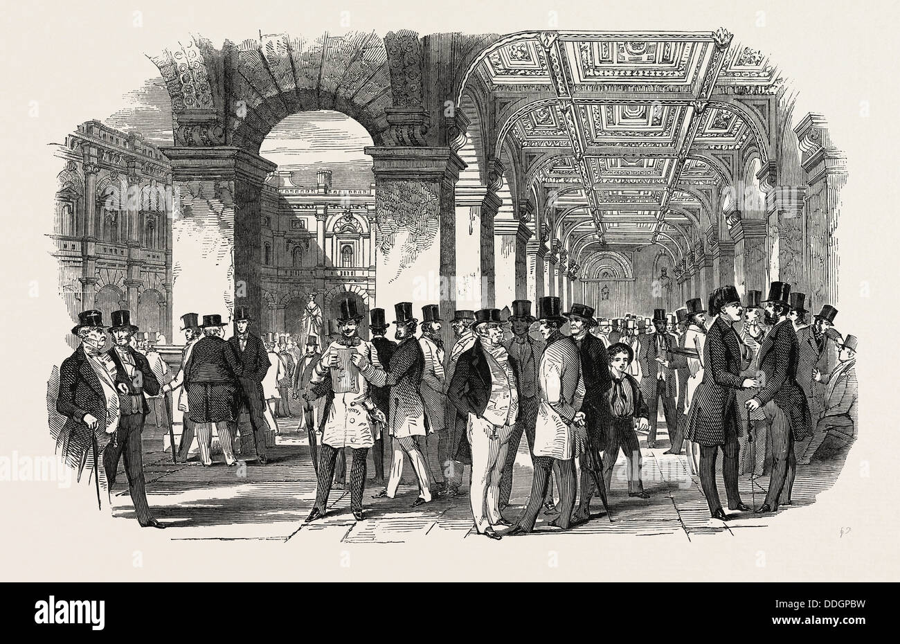 THE MERCHANTS' WALK (SOUTH WEST ANGLE), ROYAL EXCHANGE. UK, 1847 Stock Photo