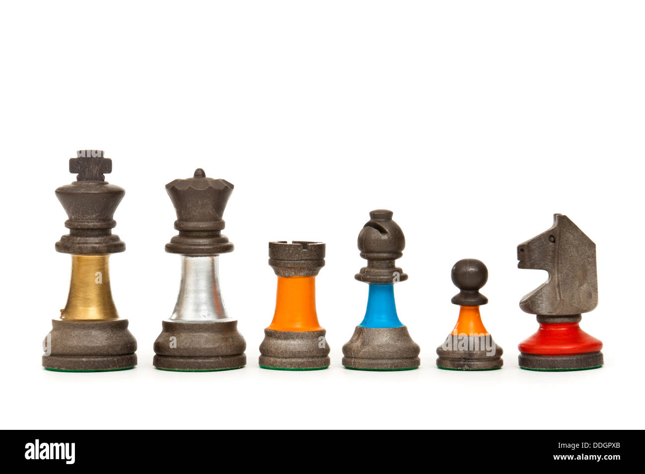 Heraldic chess pieces, including Pawn, Knight, Bishop, Rook, King and Queen - Stock Image