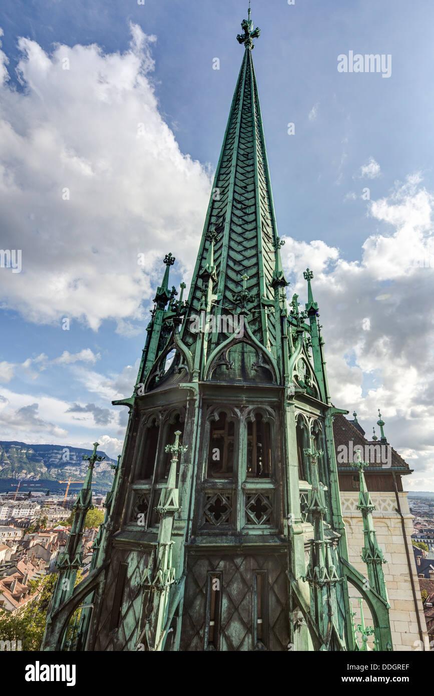 tower of St. Pierre Cathedral, Geneva, Switzerland - Stock Image