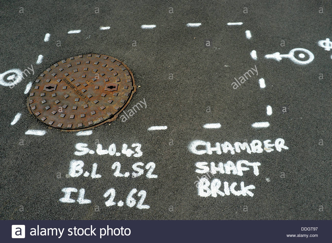 Surveyor's/Engineer's painted markings giving details about the chamber under a railway station platform, - Stock Image