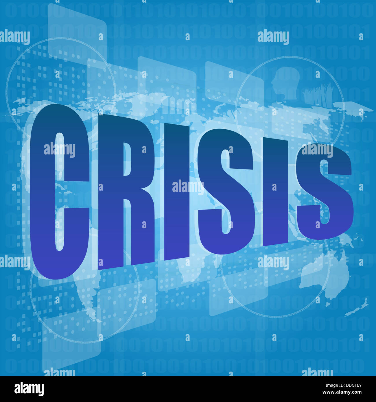 crisis word on digital screen with world map - Stock Image