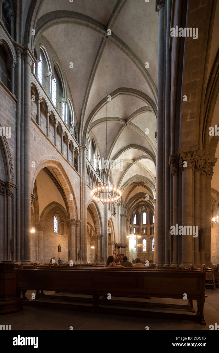 interior of St. Pierre Cathedral, Geneva, Switzerland - Stock Image