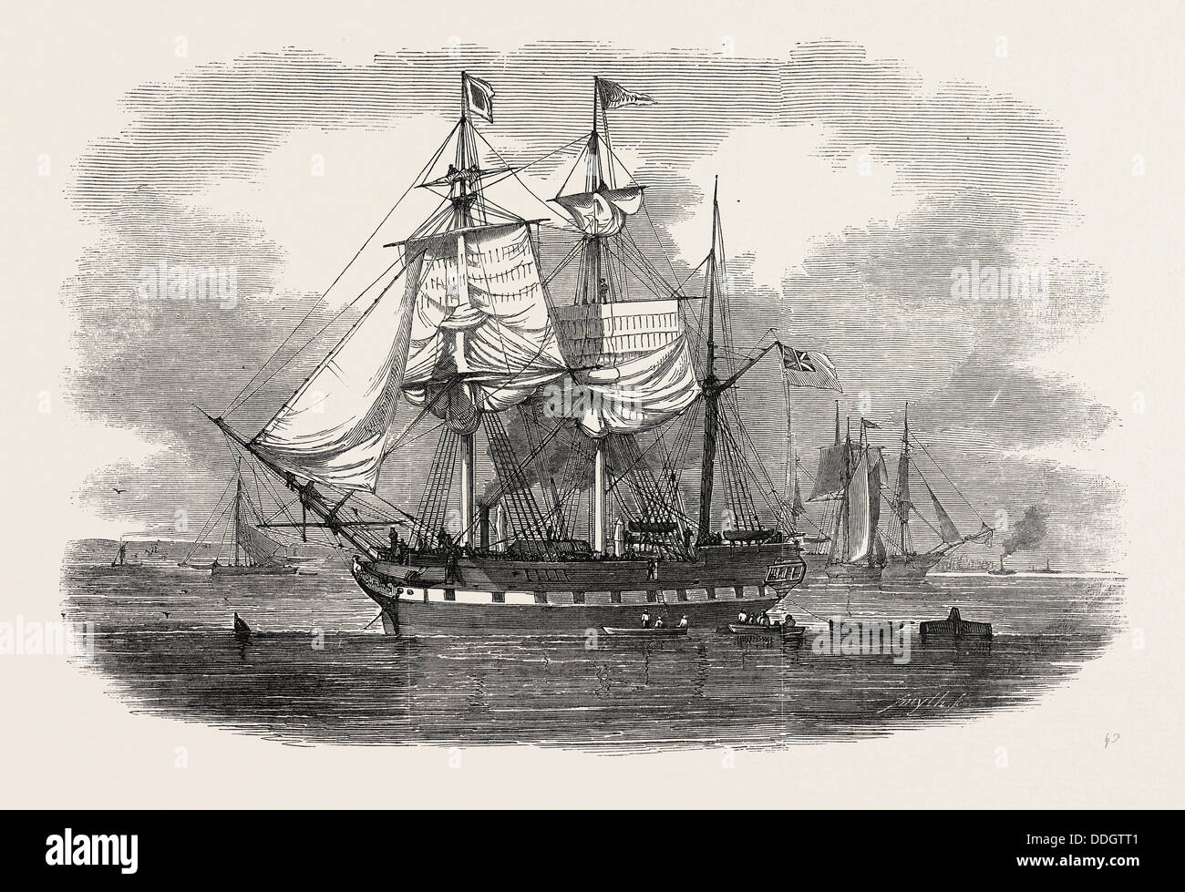 THE EMIGRANT SHIP 'ARTEMISIA,' BOUND FOR MORETON BAY, NEW SOUTH WALES, 1848 - Stock Image