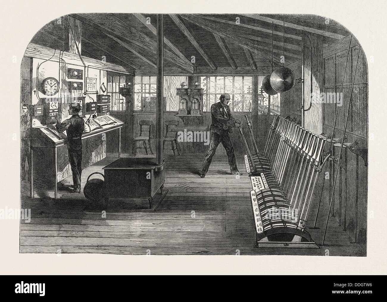 INTERIOR OF THE A.B. SIGNAL-BOX OF THE SOUTH EASTERN RAILWAY AT THE LONDON BRIDGE STATION, LONDON, UK, 1866 - Stock Image
