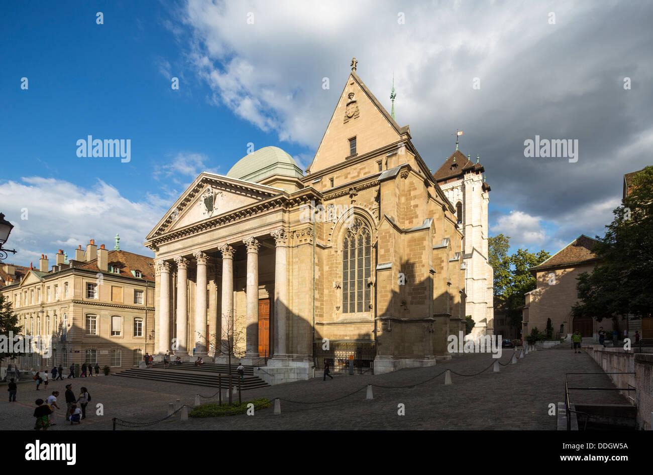 exterior of St. Pierre Cathedral, Geneva, Switzerland - Stock Image