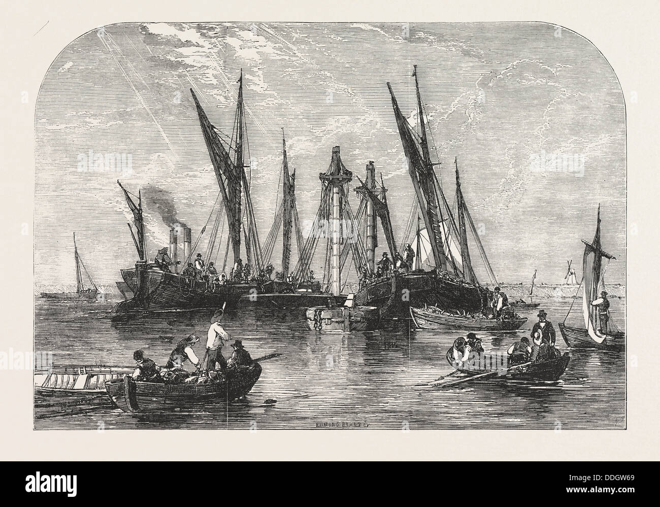 THE RAISING OF THE BARQUE 'SAMUEL,' IN THE THAMES, UK, 1855 - Stock Image