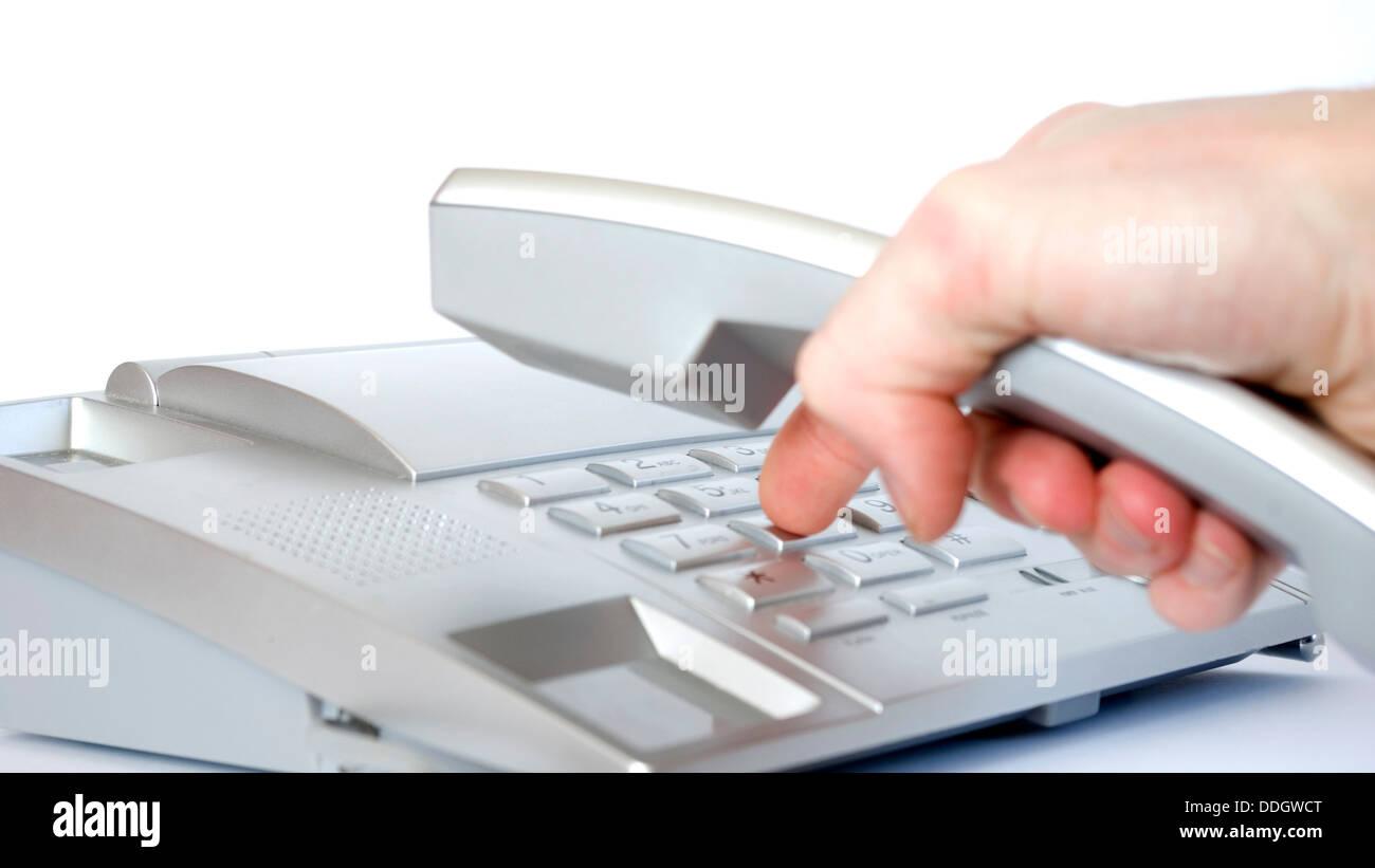 Finger on phone - Stock Image