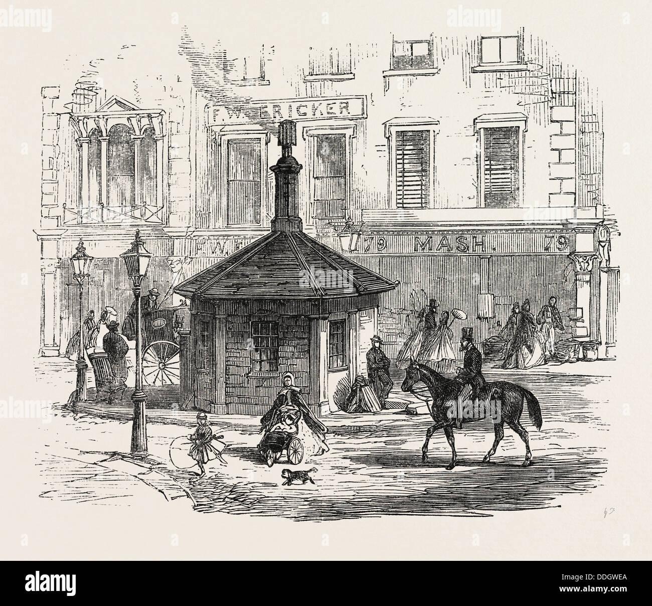 TURNPIKE GATES IN AND NEAR LONDON JUST DEMOLISHED: NOTTING HILL GATE, UK, 1864 Stock Photo