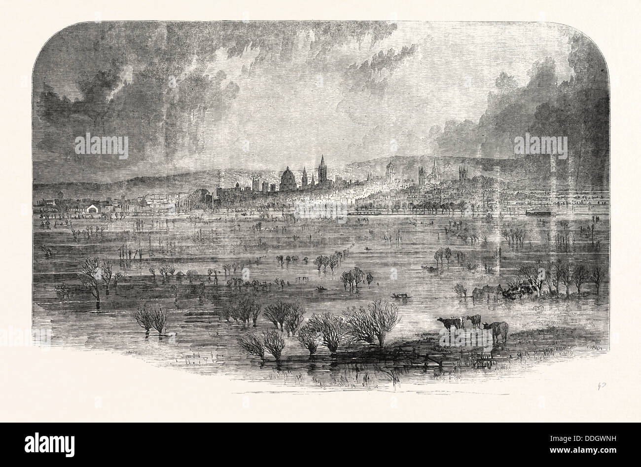 THE INUNDATION AT OXFORD, UK, 1852 - Stock Image