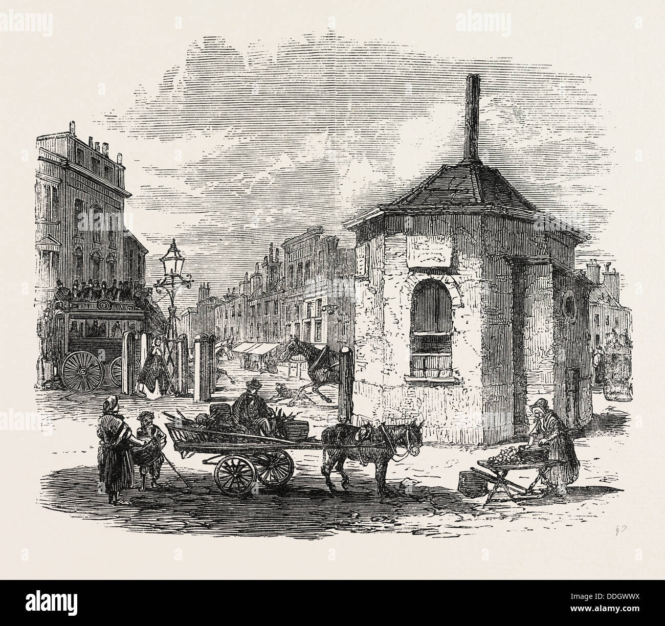 TURNPIKE GATES IN AND NEAR LONDON JUST DEMOLISHED: ISLINGTON GATE, UK, 1864 - Stock Image
