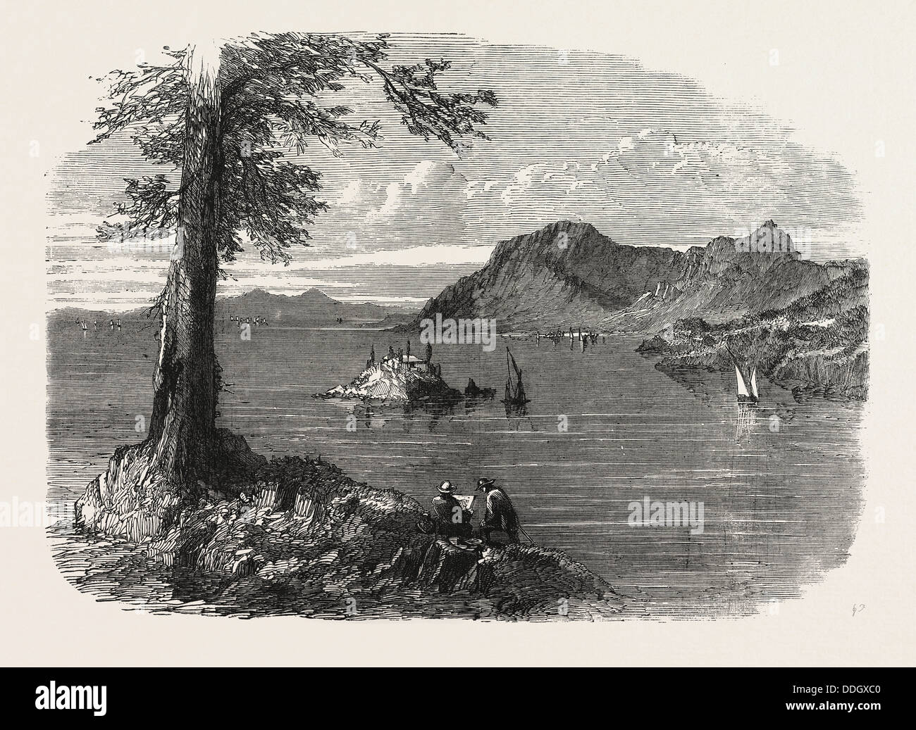 THE IONIAN ISLANDS: CORFU, FROM THE ONE-GUN BATTERY, 1858 - Stock Image