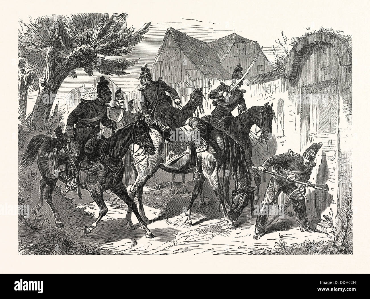 Franco-Prussian War: Bavarian Cavalry patrol in a French village, France - Stock Image