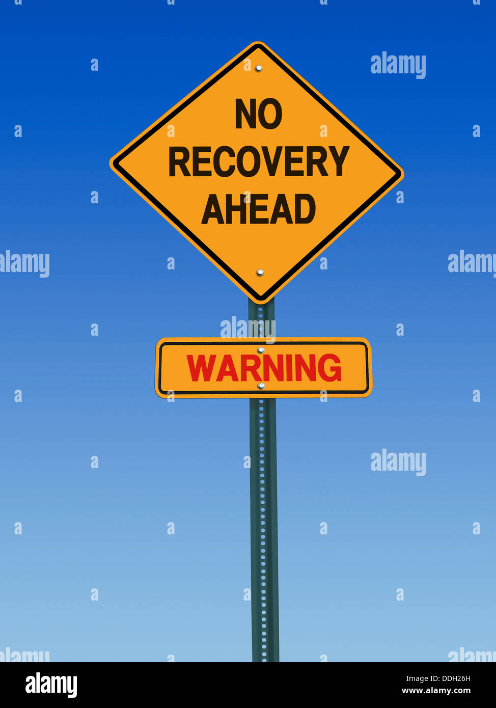 conceptual sign no recovery ahead warning over blue sky - Stock Image