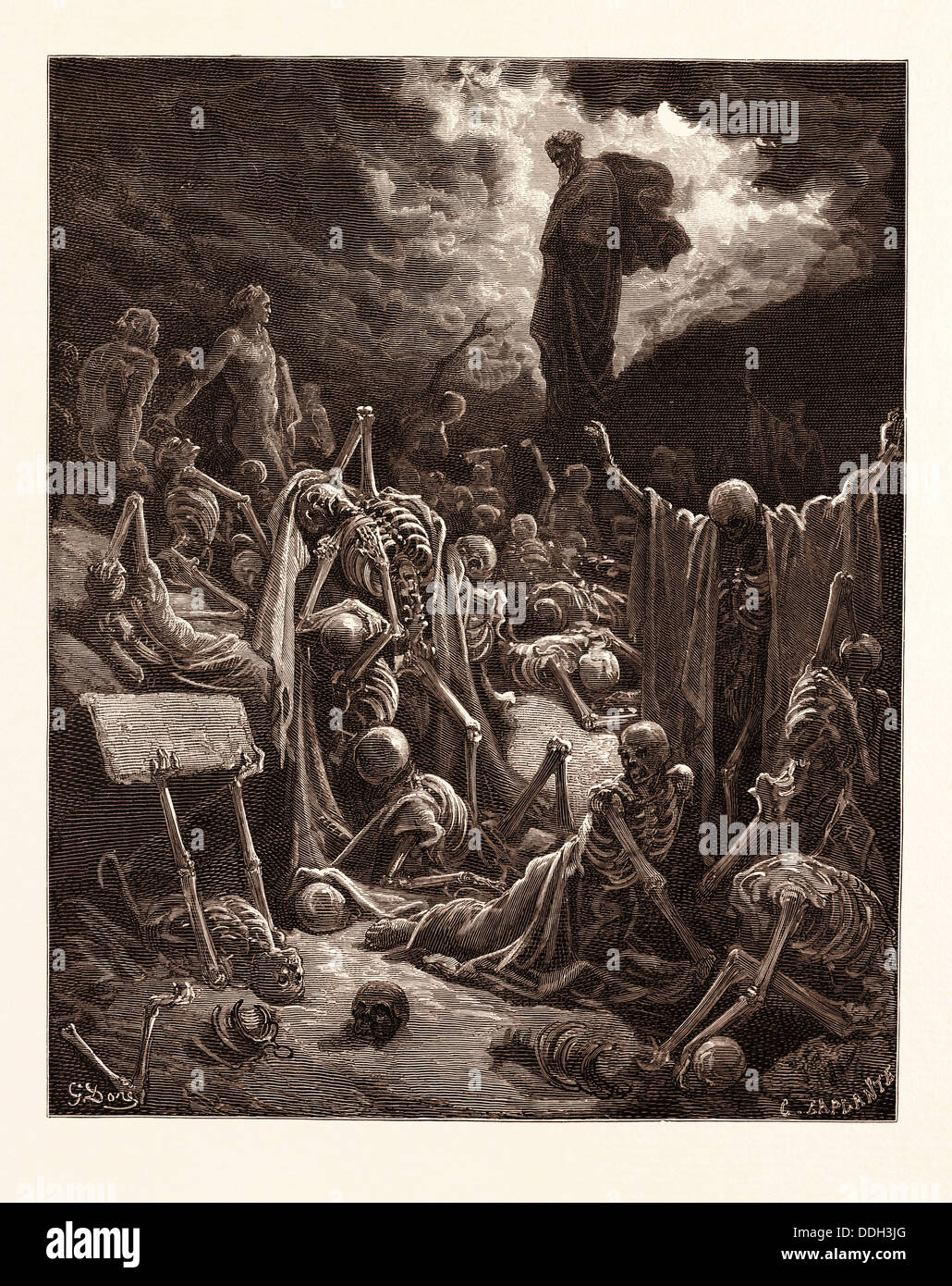 THE VISION OF THE VALLEY OF DRY BONES, EZEKIEL BY GUSTAVE DORÉ. Dore, 1832 - 1883, French. 1870, Art, Artist, - Stock Image