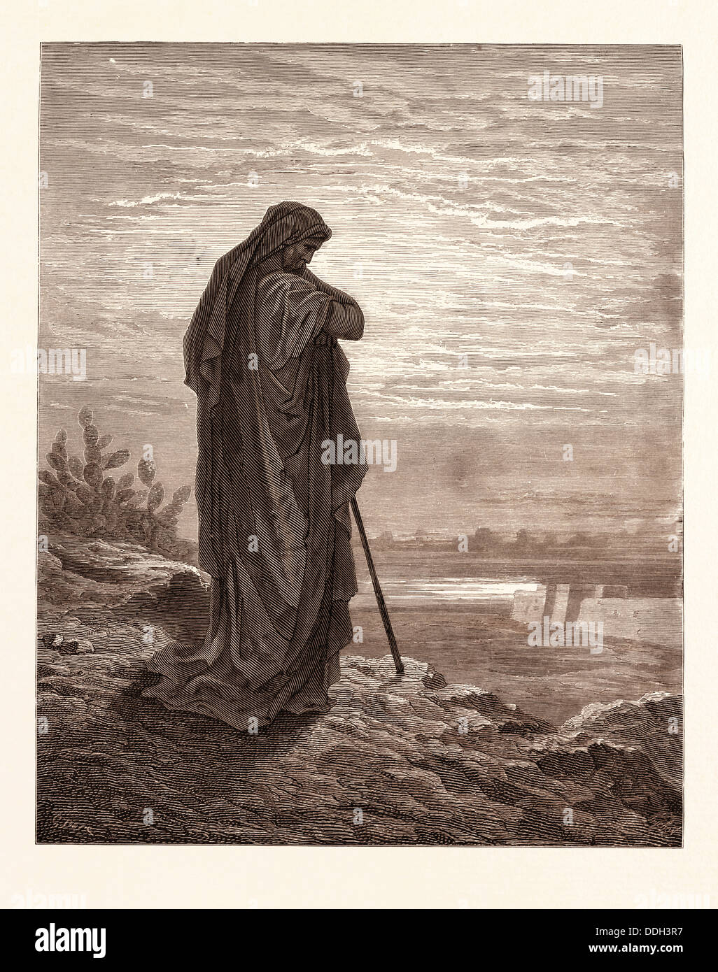AMOS THE PROPHET, BY GUSTAVE DORÉ. Dore, 1832 - 1883, French. Engraving for the Bible. 1870, Art, Artist, holy - Stock Image