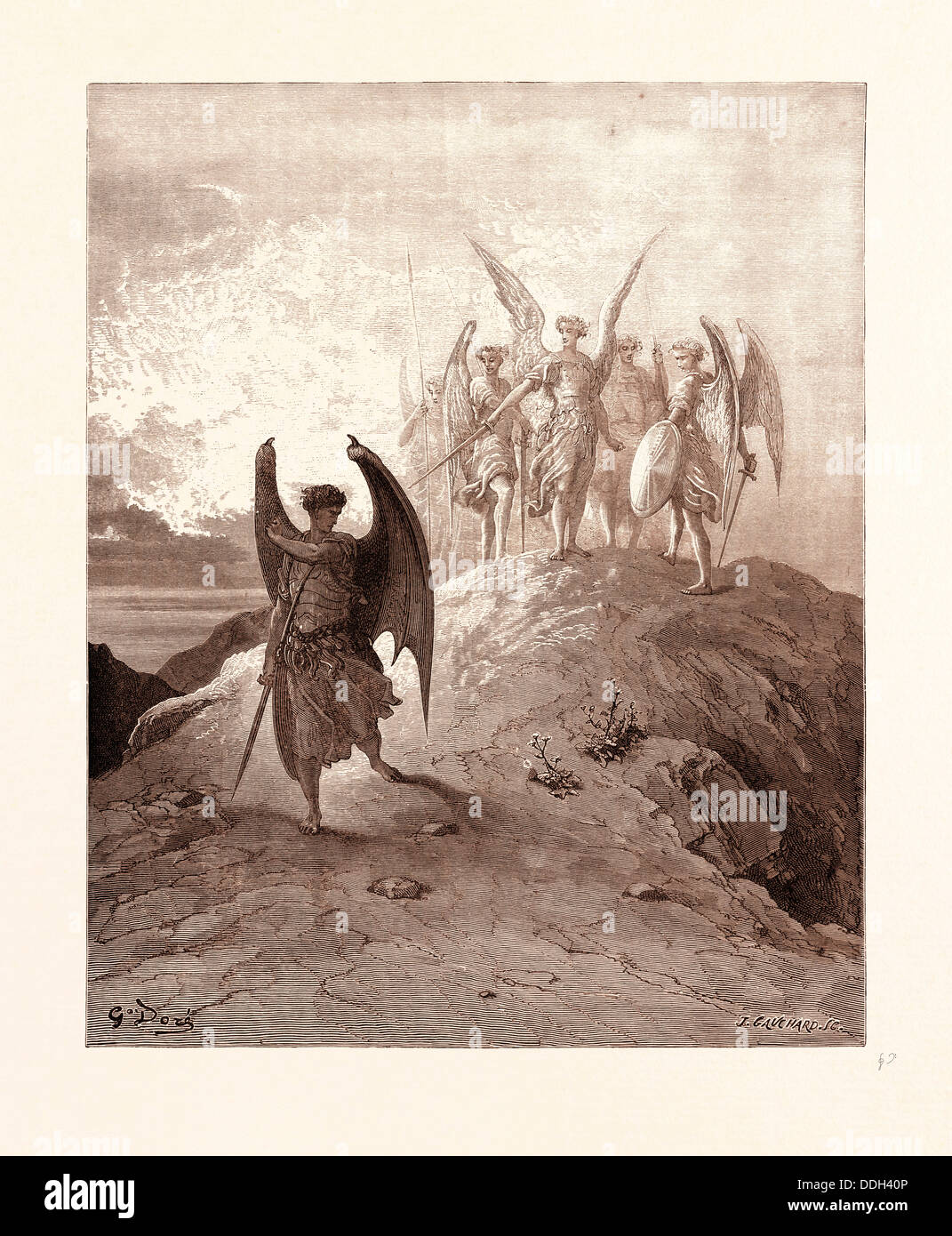 SATAN VANQUISHED, BY GUSTAVE DORE. Dore, 1832 - 1883, French. Engraving for Paradise Lost by Milton. 1870, Art, - Stock Image