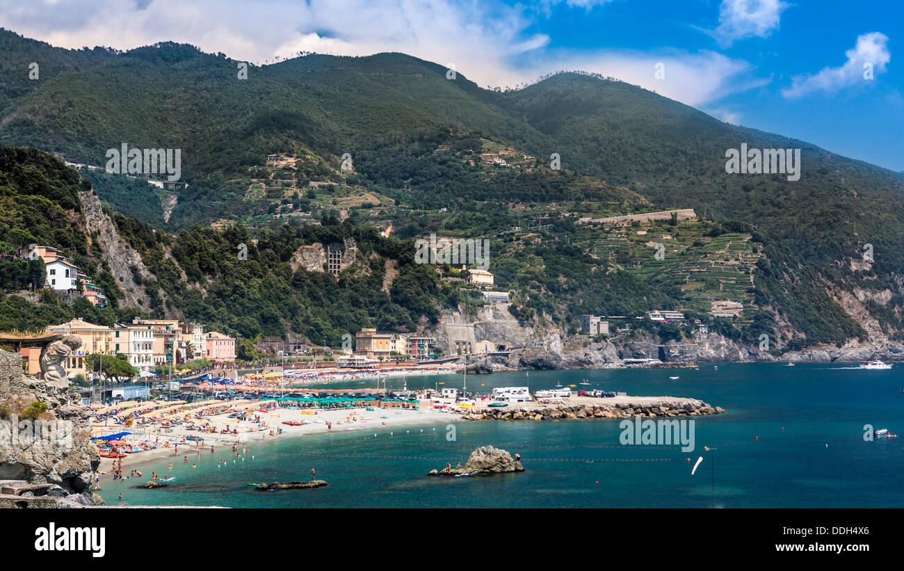 The beach of Monterosso al Mare, Cinque Terre, Liguria, Italy Stock Photo