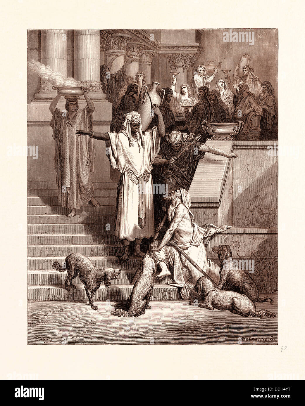 LAZARUS AT THE RICH MAN'S GATE, BY GUSTAVE DORE Stock Photo